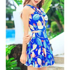 Fashionable V Neck Sleeveless Cut Out Leaves Pattern Swimsuit For Women -