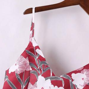 Spaghetti Strap A Line Floral Print Summer Dress - RED S