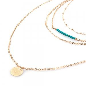 Beads Round Layered Link Design Necklace -