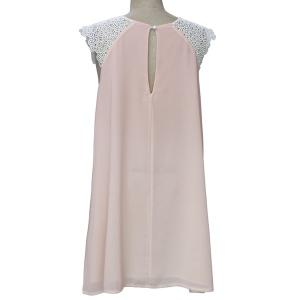 Stylish Round Collar Sleeveless Lace Spliced Hollow Out Women's Dress -