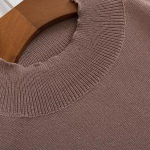 Brief Style Stand-Up Collar Long Sleeve Solid Color See-Through Knitwear For Women -