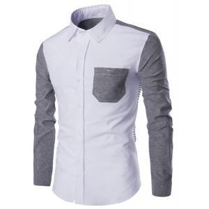 Turn-Down Collar Color Block Spliced Stripe Print Long Sleeve Shirt For Men