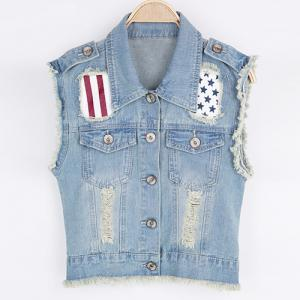 Stylish Lapel Collar Sleeveless Ripped Denim Vest For Women -