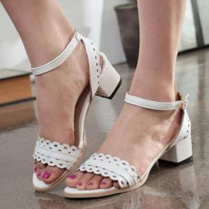 Fashionable Hollow Out and Chunky Heel Design Sandals For Women - WHITE 39