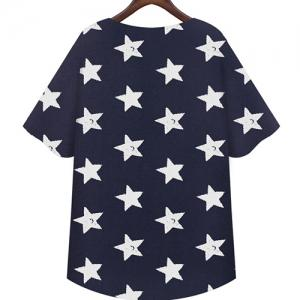 Casual Scoop Neck Short Sleeves Star Print T-Shirt For Women -