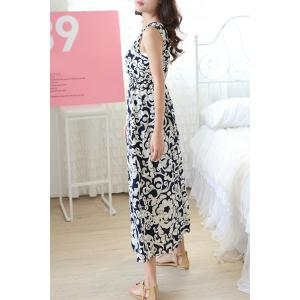 Trendy Scoop Neck Sleeveless Floral Print A-Line Dress For Women -