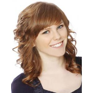 Charming Medium Side Bang Capless Fluffy Curly Golden Brown Synthetic Wig For Women -