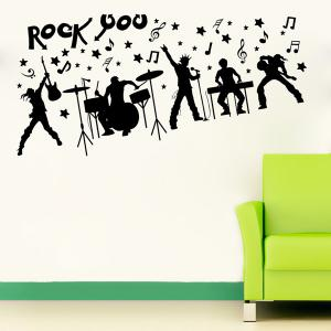 Rock Band Silhouette Musical Wall Art Stickers For Bedrooms - BLACK