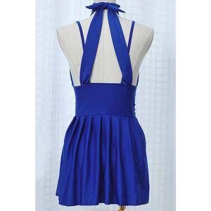 Pleated Skirted High Neck Underwire Tankini - BLUE L