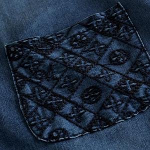 Embroidered Casual Denim Dress With Pockets -