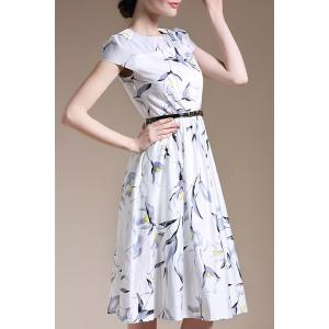 Trendy Round Collar Short Sleeve Floral Print Slimming Women's Dress -