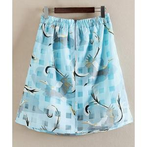 Graceful Elastic Waist Animal Print Plaid Skirt For Women -
