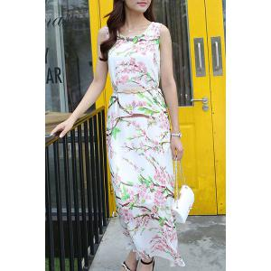 Sleeveless Scoop Neck Floral Belt-Tie Maxi Dress