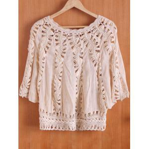 Chic Scoop Neck Hollow Out Knitted 3/4 Sleeve Blouse For Women -