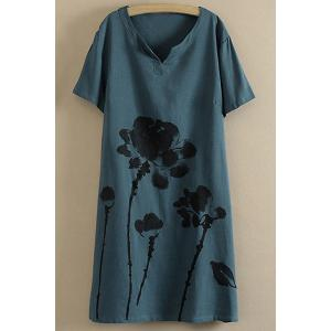 Ink Painting Short Sleeve Casual Tee Shirt Dress