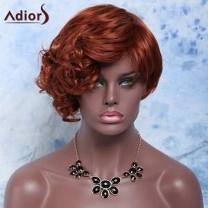 Outstanding Short Side Bang Capless Fluffy Curly Dark Auburn Synthetic Wig For Women