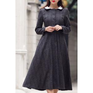 Peter Pan Collar A Line Tea Length Dress