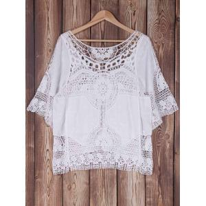 Bat Sleeve Openwork Cover Up - WHITE ONE SIZE(FIT SIZE XS TO M)