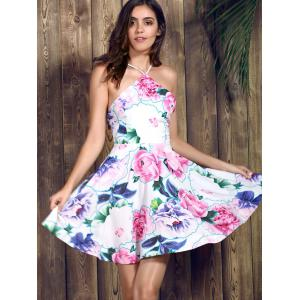 Spaghetti Strap Floral Print Backless Skater Summer Dress -