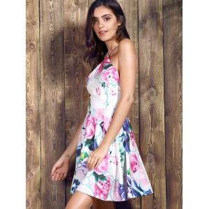 Spaghetti Strap Floral Backless Skater Summer Dress - PINK M