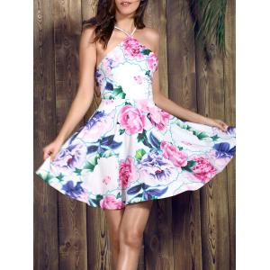 Spaghetti Strap Floral Print Backless Skater Summer Dress