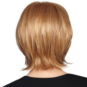 Graceful Short Side Bang Capless Fluffy Natural Straight Real Human Hair Wig For Women -