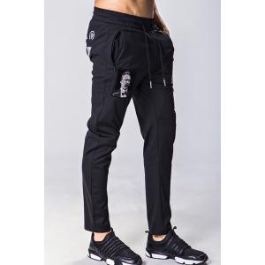 Lace-Up Figure Skull and Letters Embroidered Narrow Feet Pants For Men - BLACK M