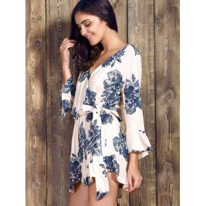 Charming V Neck 3/4 Sleeve Floral Print Loose Self-Tie Wrap Romper For Women -