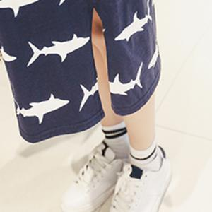 Casual Round Neck Cap Sleeves Baby Shark Print Dress For Women -