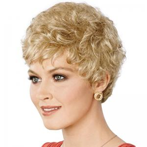 Attractive Side Bang Real Natural Hair Fluffy Curly Short Wig For Women -