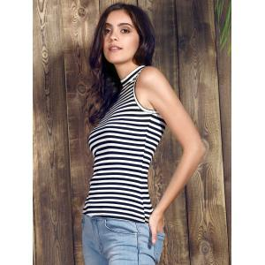 Stylish Stand-Up Collar Sleeveless Striped Knitting Tank Top For Women -