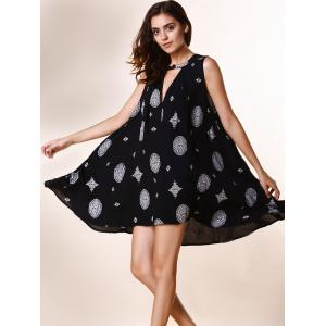 Chic Keyhole Neck Sleeveless Printed Loose-Fitting Dress For Women - PURPLISH BLUE S