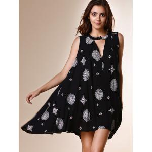 Chic Keyhole Neck Sleeveless Printed Loose-Fitting Dress For Women