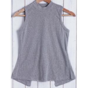 Chic Stand Collar Sleeveless Lace-Up Hollow Out Women's Tank Top -