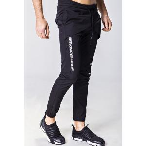 Lace-Up Letter Appliques Multi-Layered Design Beam Feet Pants For Men -