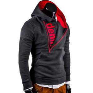 Half Zipper Front Pocket Letters Print Hooded Long Sleeves Asymmetric Hoodie For Men -