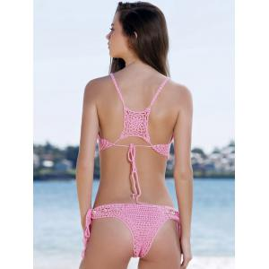 Sexy Halterneck Pinky Crochet Bikini Set For Women -