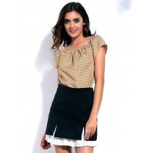 Stylish Off-The-Shoulder Short Sleeve Gingham Loose T-Shirt For Women -