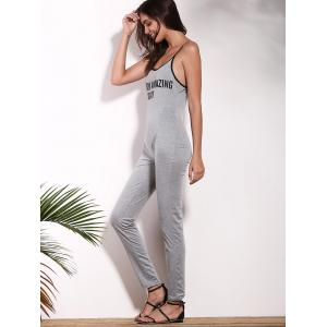 Stylish Strappy Letter Print Jumpsuit For Women -