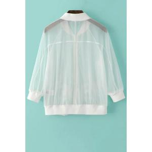Chic See-Through Bird Embroidered Women's Sunscreen Jacket -