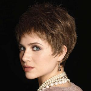 Elegant Short Inclined Bang Vogue Straight Capless Real Natural Hair Wig For Women -