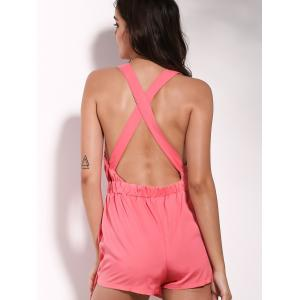 Stylish Plunging Neckline Cross Back Wrap Romper For Women - PINK S
