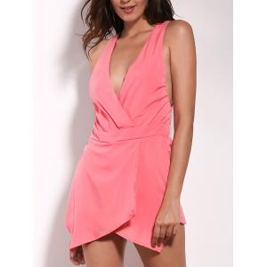 Stylish Plunging Neckline Cross Back Wrap Romper For Women
