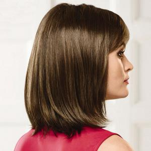 Bob Style Straight Capless Trendy Short Side Bang Real Human Hair Wig For Women -