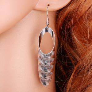 Hollow Out Geometric Earrings - SILVER