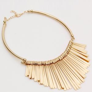 Alloy Embossed Long Metal Bars Fringed Necklace -