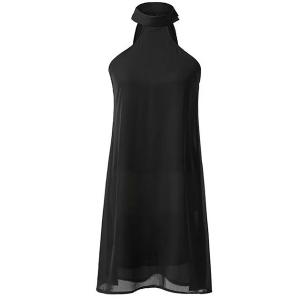 Casual Black Stand Collar Cut Out Chiffon Dress For Women
