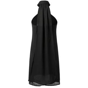 Casual Black Stand Collar Cut Out Chiffon Dress For Women - BLACK S