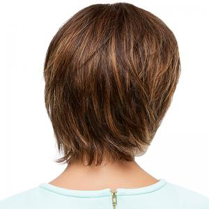 Fashion Multicolor Short Capless Fluffy Natural Straight Side Bang Human Hair Wig For Women -