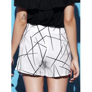 Stylish Mid Waist Printed Asymmetrical Culottes For Women - WHITE S